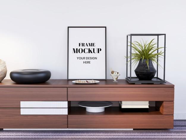 Frame mockup realistic on the interior desk