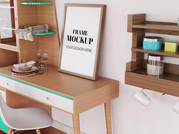Frame mockup realistic on the modern desk
