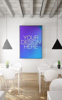 Frame mockup in restaurant interior