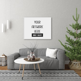 Frame mockup on the room wall