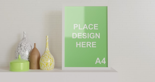 Frame mockup on the table with wooden vase