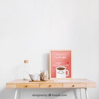 Frame mockup on a table