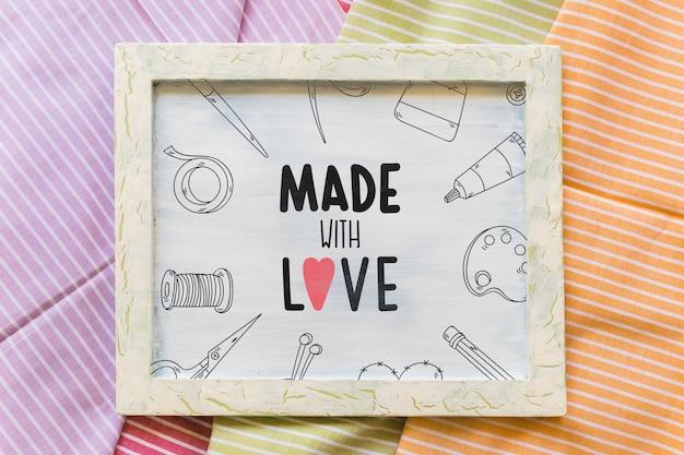 Frame mockup on textile