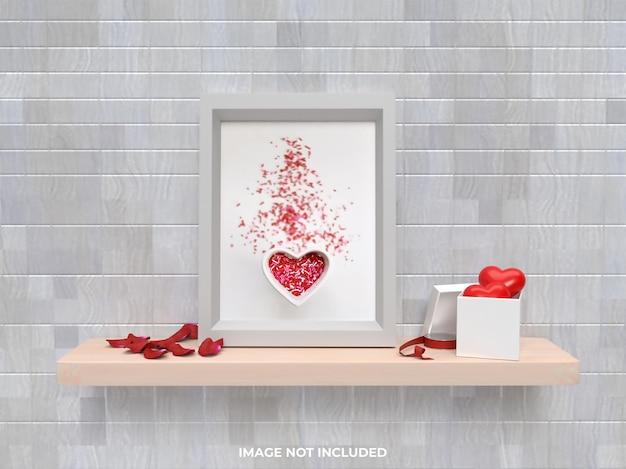 バラとハートのギフトとフレームモックアップバレンタインコンセプト