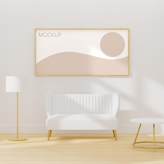 Frame mockup on a white interior room with white furniture 3d render