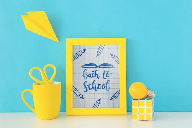 Frame mockup with back to school concept