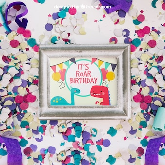 Frame mockup with birthday design