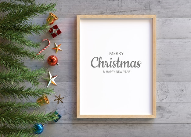 Frame mockup with christmas decoration
