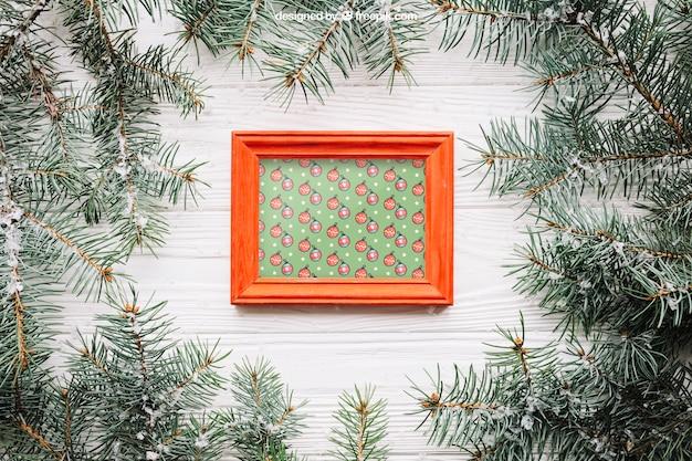Frame mockup with christmas design