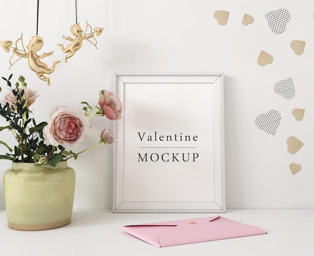 Макет рамки с композицией объектов валентина