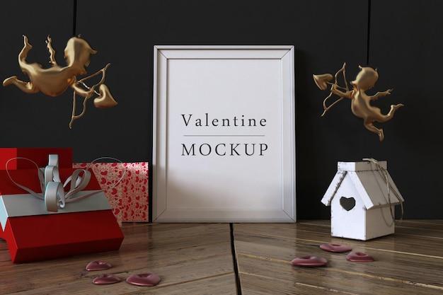 Макет рамки с композицией объектов валентинки