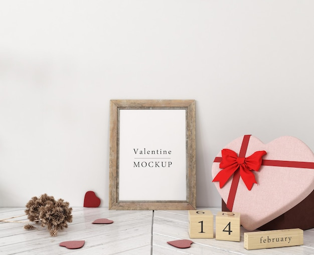 Frame mockup with composition of valentine objects