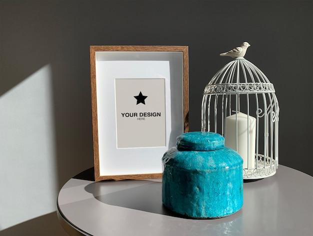 Frame mockup with decoration elements