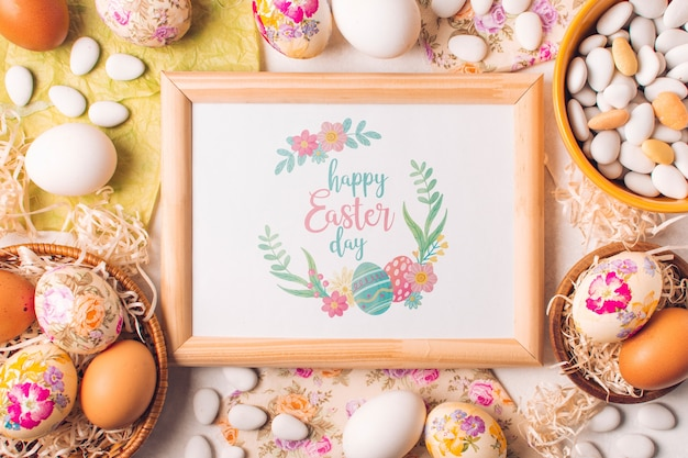 Frame mockup with easter concept
