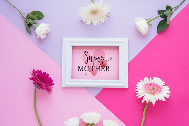 Frame mockup with flat lay mothers day composition