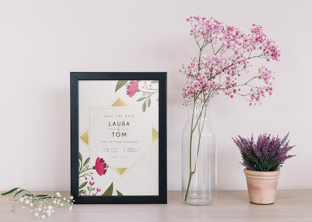 Frame mockup with floral decoration