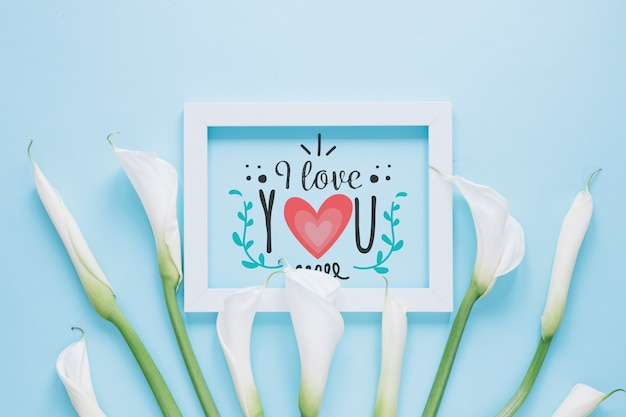 Frame mockup with floral valentines day concept