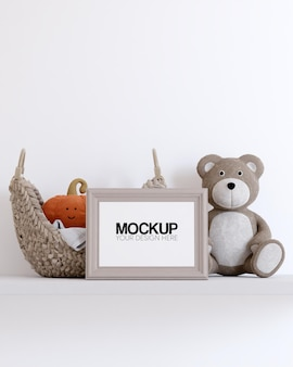 Frame mockup with kids toys decorations