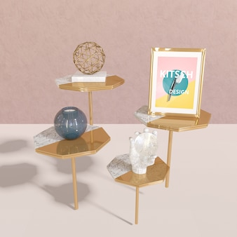 Frame mockup with kitsch concept