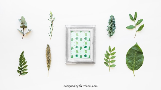 Frame mockup with leaves