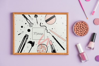 Frame mockup with makeup concept
