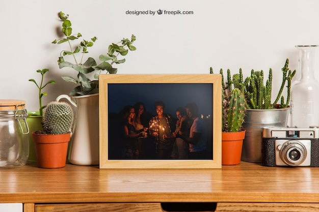 Frame mockup with many plants