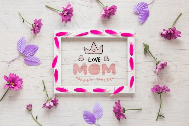 Frame mockup with mothers day concept