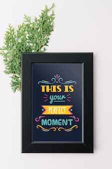 Frame mockup with nature concept for quotes