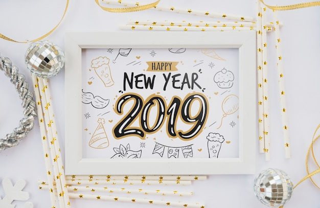 Frame mockup with new year decoration