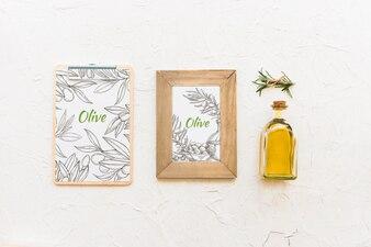Frame mockup with olive oil concept