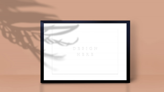 Frame mockup with palm leaf shadow. a4 format.