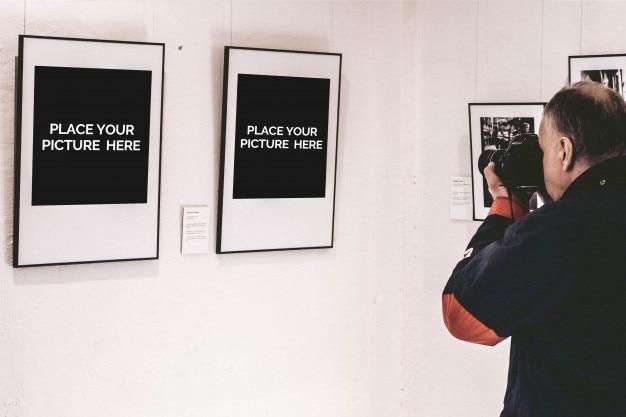 Frame mockup with photographer