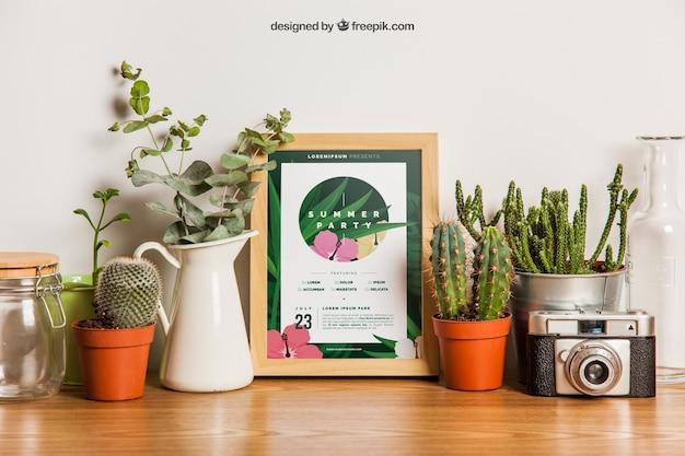 Frame mockup with plants