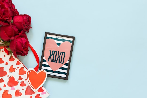 Frame mockup with roses for valentines day