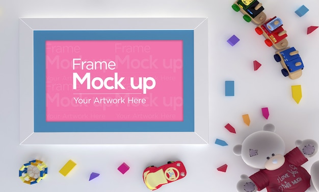 Frame mockup with toys