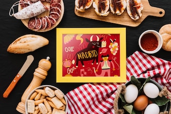 Frame mockup with traditional spanish food