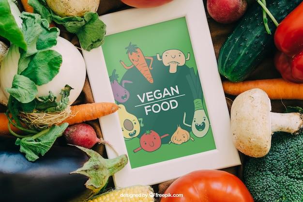 Frame mockup with vegetable designs