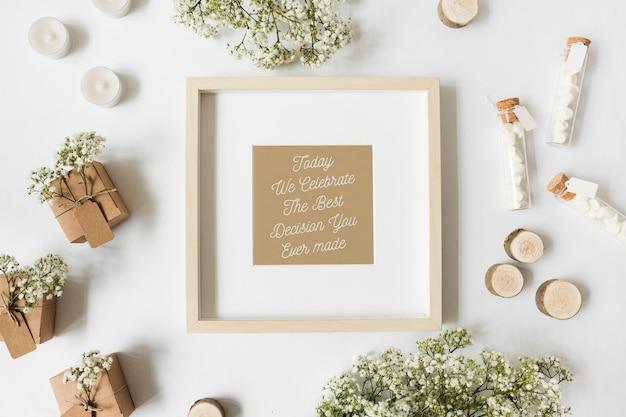 Frame mockup with wedding concept