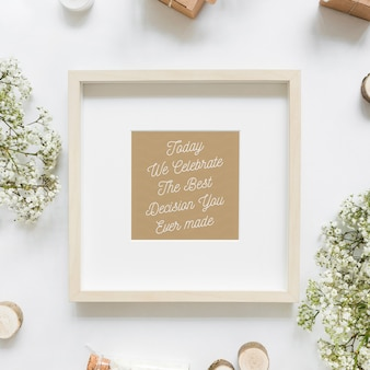 Frame mockup with wedding concept