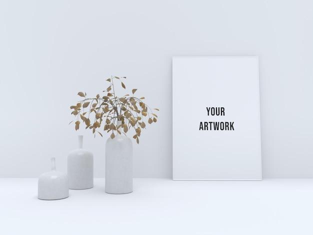 白いモダンな花瓶とフレームのモックアップ