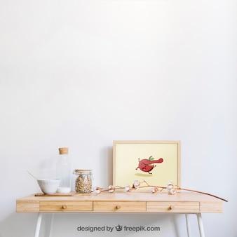 Frame mockup on wooden desk