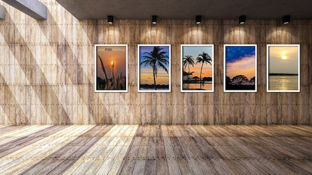 Frame mockup in wooden interior space