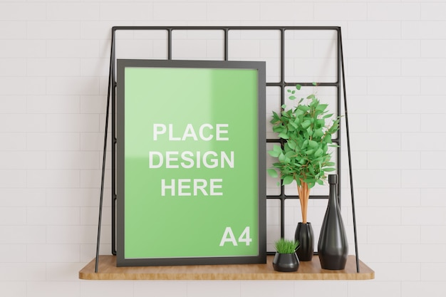 Frame mockup on the wooden wall table