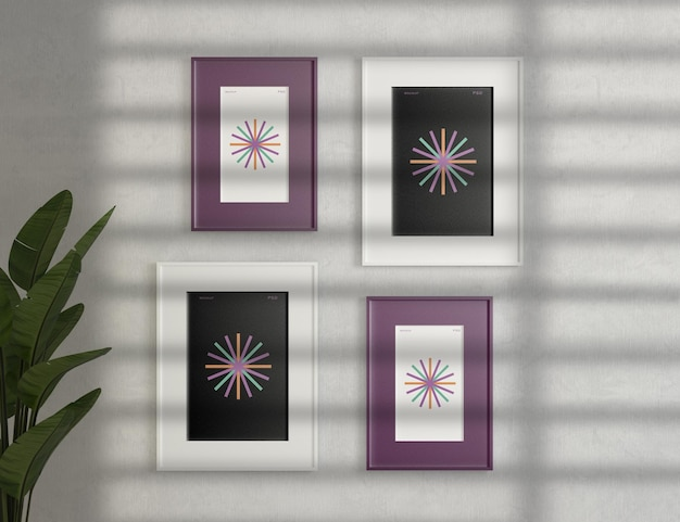 Frame mockups on cement wall