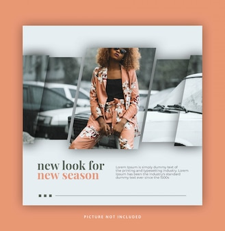 Frame modern dynamic clean simple instagram post template or square banner