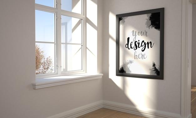 Рамка возле окна, макет
