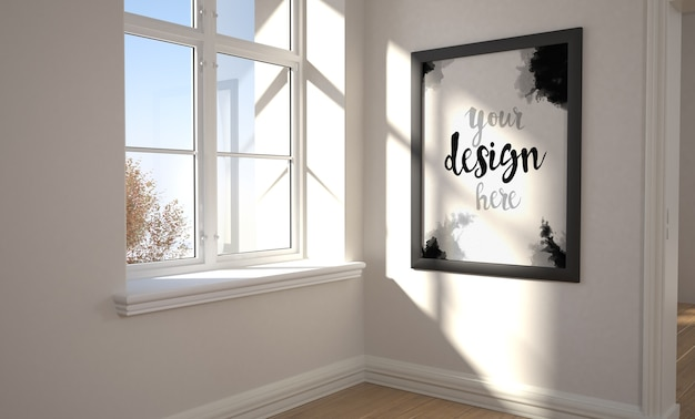 Frame near a window mockup