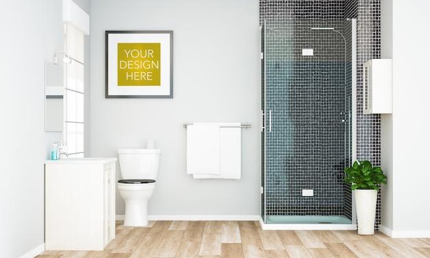 Рамка на макете ванной комнаты