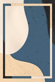 青とベージュのパターンの背景図のフレーム