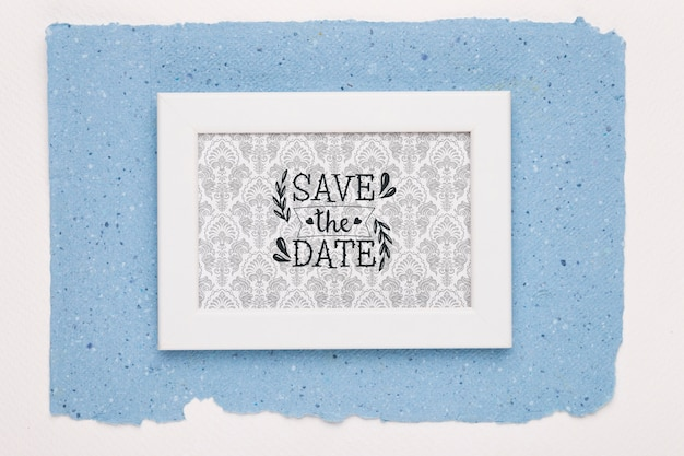 Рамка на синем фоне сохранить макет даты